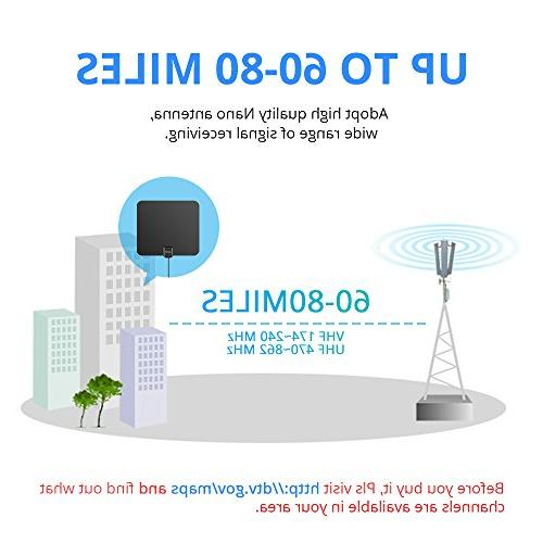 Lesoom 80 Long Digital Antenna for VHF UHF with Detachable Ampliflier Strongest Reception