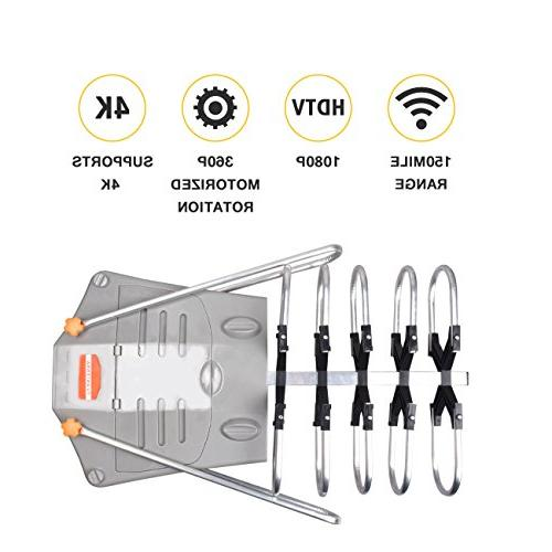 UPGRADED VERSION Digital TV Antenna 150 Miles Long Range High-Definition Channels Wireless Control - Coax - All TV's-1080p 4K ready