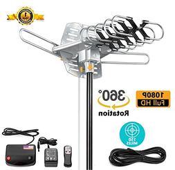 TV Antenna Outdoor Amplified - 150 Miles Range - 360 Rotatio