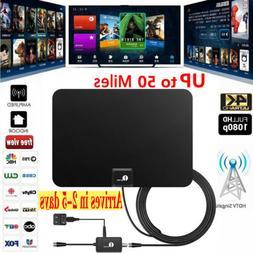 Digital Indoor Amplified HDTV TV Antenna 20FT Coax 50 Mile U