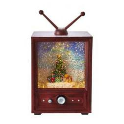 Vintage Antenna TV Brown LED Switch 11 inch Resin Decorative