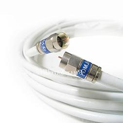 50ft White RG6 Digital Coaxial Cable Shielded PVC Jacket Rat