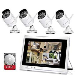 "YESKAMO Wireless Security Camera System 1080P 12"" LCD HD Mon"