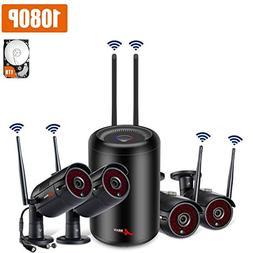 Wireless Security Camera System, 4Channel 1080P Wireless Su