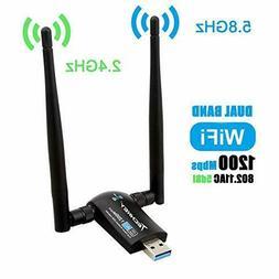Wireless USB WiFi Adapter, Techkey 1200Mbps Dual Band 2.4GHz